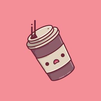 Ilustracja kubek kawy spada z uroczą twarzą