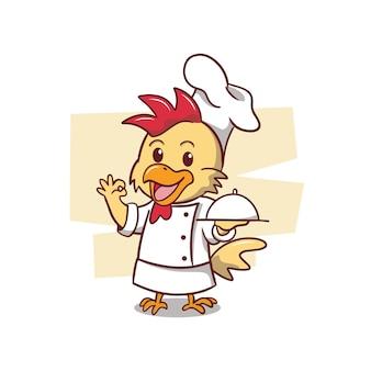 Ilustracja kucharz ładny kurczak
