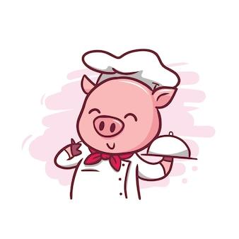 Ilustracja kucharz ładny świnia