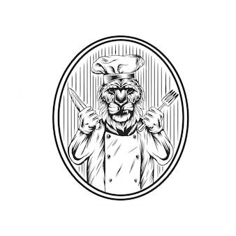 Ilustracja kucharz lew