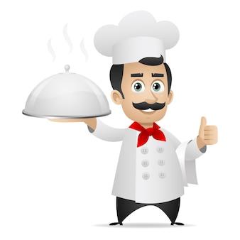 Ilustracja, kucharz trzyma tacę i pokazuje kciuki w górę, format eps 10
