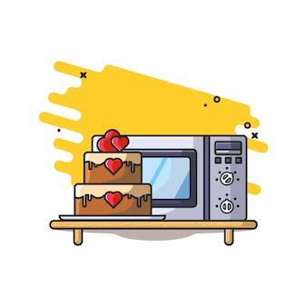 Ilustracja kuchenka mikrofalowa i ciasto