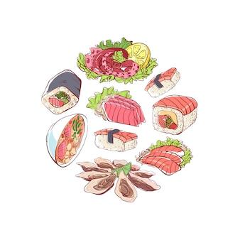 Ilustracja kuchni japońskiej z potraw azjatyckich