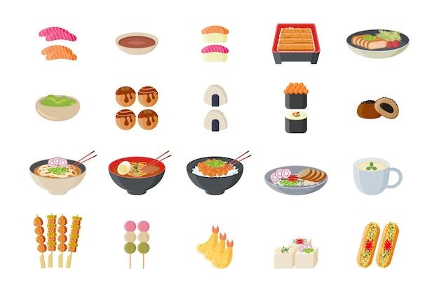 Ilustracja kuchni japońskiej żywności