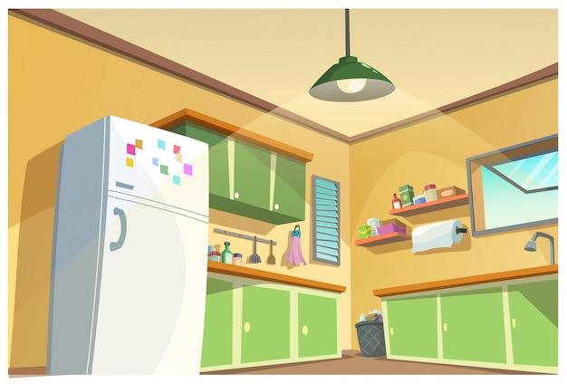 Ilustracja kuchnia, kreskówka.