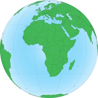 Ilustracja kuli ziemskiej z naciskiem na afrykę