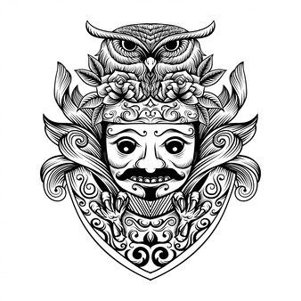Ilustracja kultury maski jawajskiej