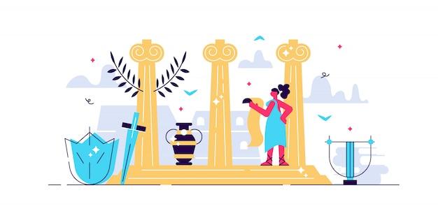 Ilustracja kultury rzymskiej. małe osoby pojęcie turystyki historycznej. klasyczna architektura antyczna z rzeźbą, kamiennymi filarami i elementami dekoracyjnymi. podróż starodawny stary projekt sztuka dziedzictwo