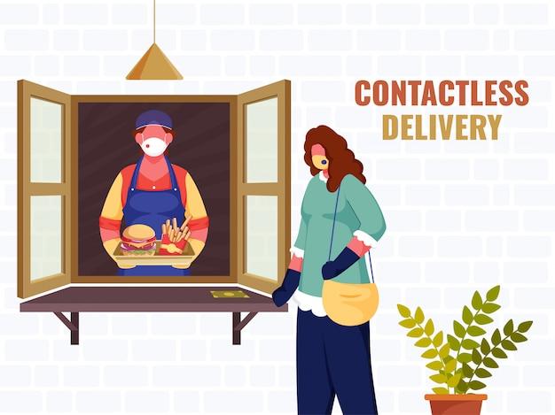 Ilustracja kupującej kobiety przekazującej klientowi paczkę żywności z okna podczas koronawirusa dla koncepcji dostawy zbliżeniowej.