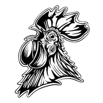 Ilustracja kurczak. kurczak w stylu vintage produkuje elementy.