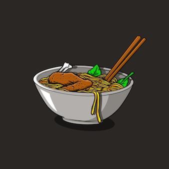 Ilustracja kurczak makaron