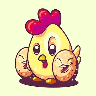 Ilustracja kurczaka i jajka do naklejki na koszulkę i związane biznes