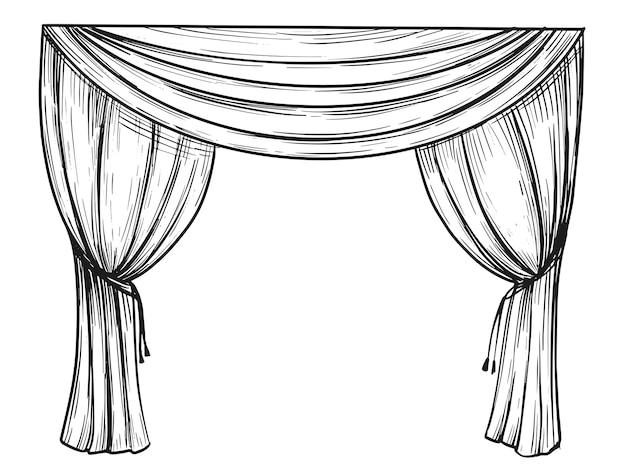 Ilustracja kurtyny. ręcznie rysowane szkic.