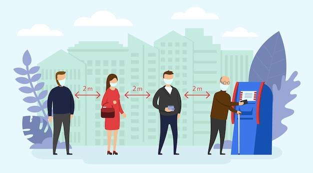 Ilustracja kwarantanny w stylu cartoon płaski. różne osoby stojące w kolejce do bankomatu bankomatu
