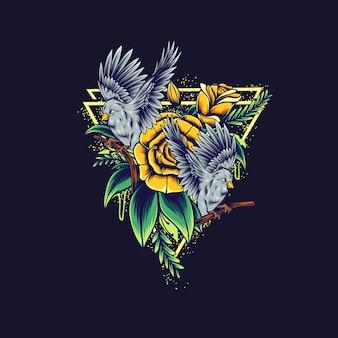 Ilustracja kwiat ptaka