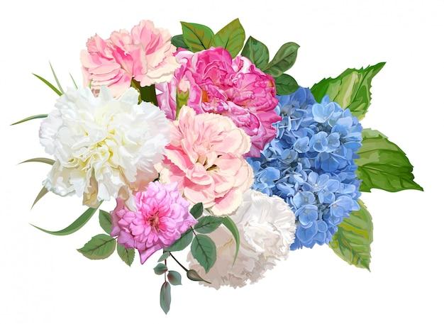 Ilustracja kwiat róży, hortensji i goździków