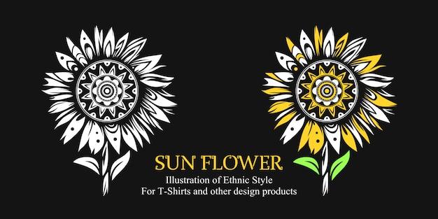 Ilustracja kwiat słońca w stylu etnicznym