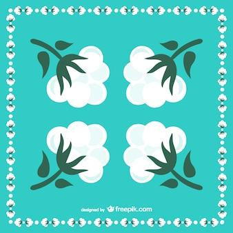 Ilustracja kwiatów bawełny