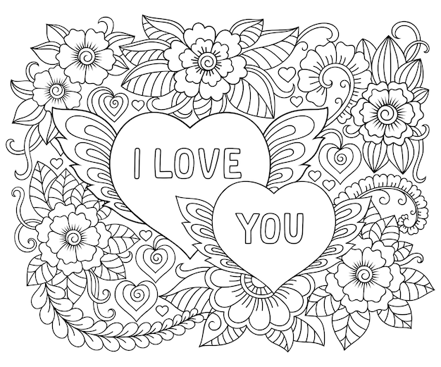 """Ilustracja kwiatów i serca z napisem """"kocham cię"""" na walentynki."""