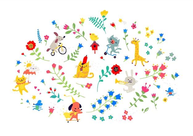 Ilustracja kwiatów i zabawnych zwierząt.