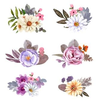 Ilustracja kwiatowa, liść i pąki. kompozycja botaniczna do projektowania. gałąź kwiatów.