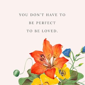 Ilustracja kwiatowy cytat szablonu, zremiksowany z dzieł z domeny publicznej