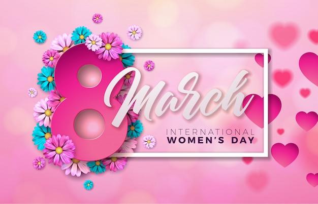 Ilustracja kwiatowy dzień kobiet z kwiatów i serca