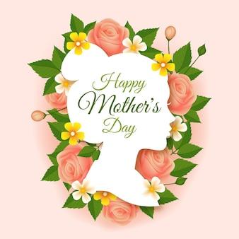 Ilustracja kwiatowy dzień matki szczęśliwy