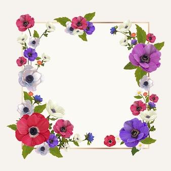 Ilustracja kwiatowy makieta ramki