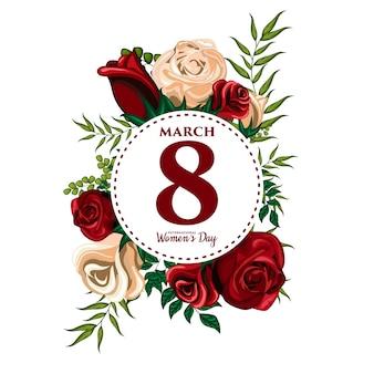 Ilustracja kwiatowy ornament na dzień kobiet międzynarodowych