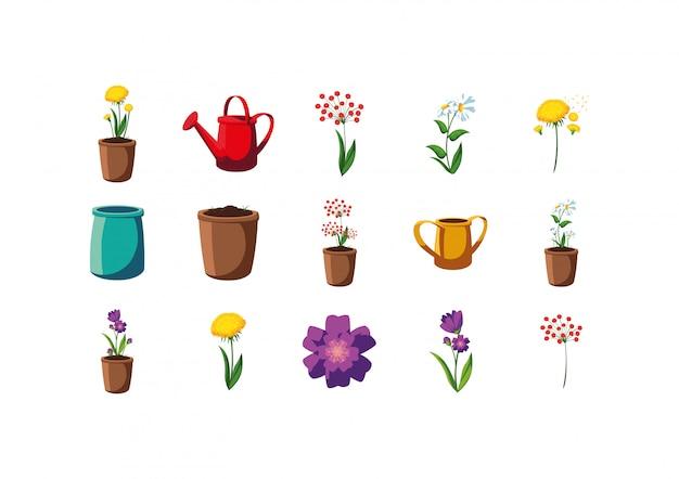 Ilustracja kwiaty i doniczki