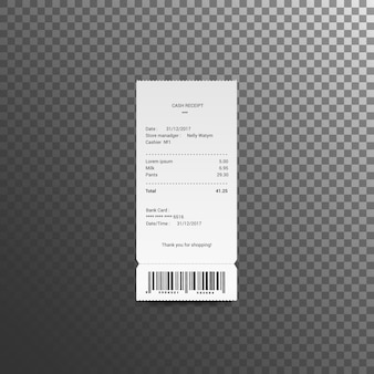 Ilustracja kwitów gotówkowych. czek papierowy i czek finansowy na białym tle. wektor