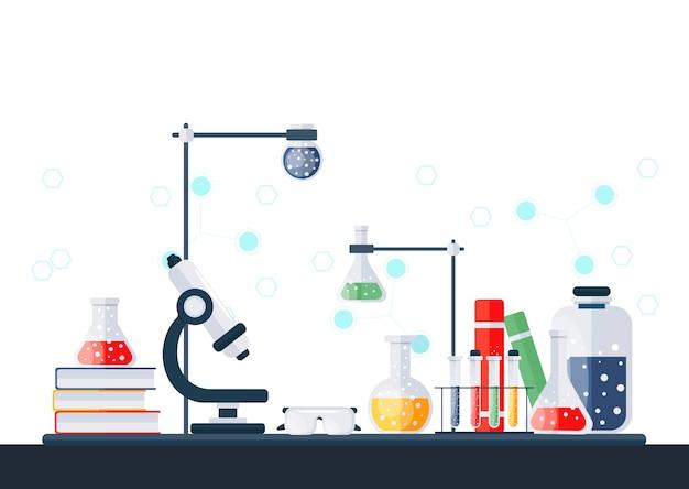 Ilustracja laboratorium chemicznego.