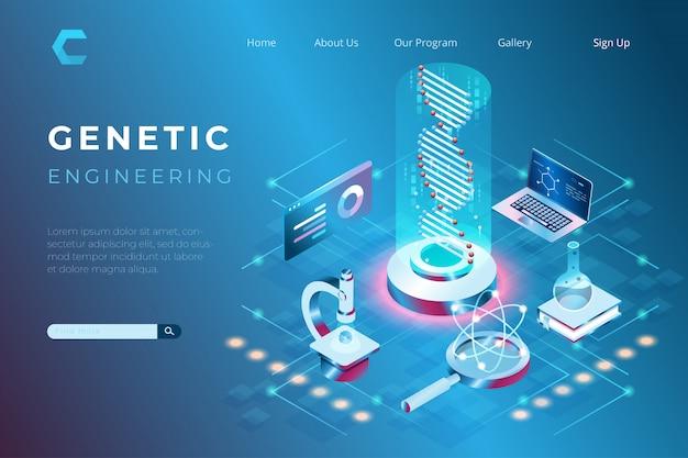 Ilustracja laboratorium inżynierii genetycznej, badania zdrowia, rozwój genetyczny w izometrycznym stylu 3d