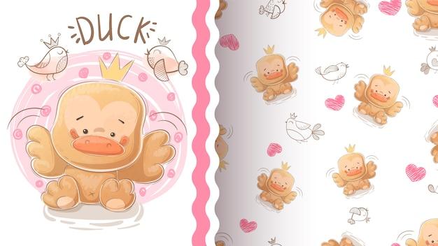 Ilustracja ładny kaczka i wzór