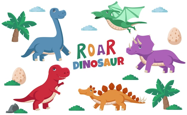 Ilustracja ładny kolorowy dinozaur, stegozaur, tricerator, pterodaktyl, tyranozaur, brontozaur dla koncepcji ilustracji dla dzieci