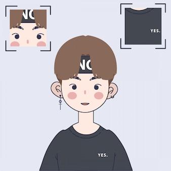 Ilustracja ładny koreański chłopiec. ilustracja przystojny azjatycki chłopiec.