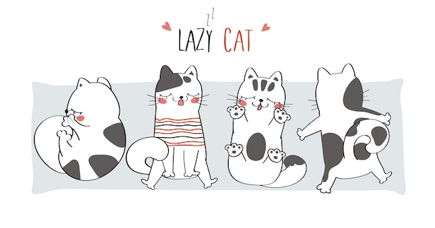 Ilustracja ładny leniwy kot