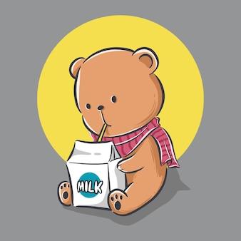 Ilustracja ładny mały miś siedzi i pije mleko kreskówka