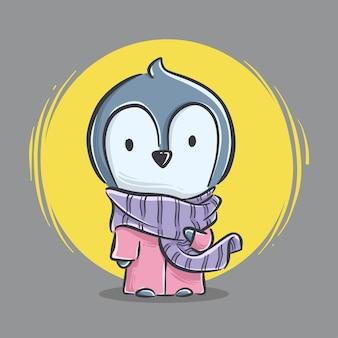 Ilustracja ładny mały pingwin stojący z szalikiem kreskówki