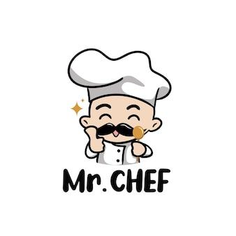 Ilustracja ładny mężczyzna szefa kuchni