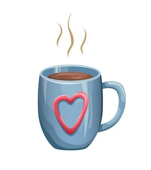 Ilustracja ładny niebieski kubek z gorącym napojem.