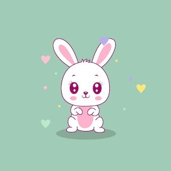 Ilustracja ładny szczęśliwy króliczek