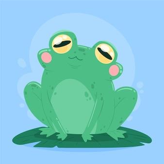 Ilustracja ładny żaba płaska konstrukcja