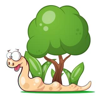 Ilustracja ładny zielony wąż.