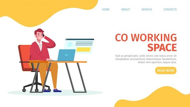 Ilustracja lądowania przestrzeni roboczej. mężczyzna siedzi na krześle i wykonuje telefon. miejsce do pracy w biurze nowocześnie wyposażone. pracownik pracuje za pomocą laptopa przy stole. wnętrze minimalistyczne.