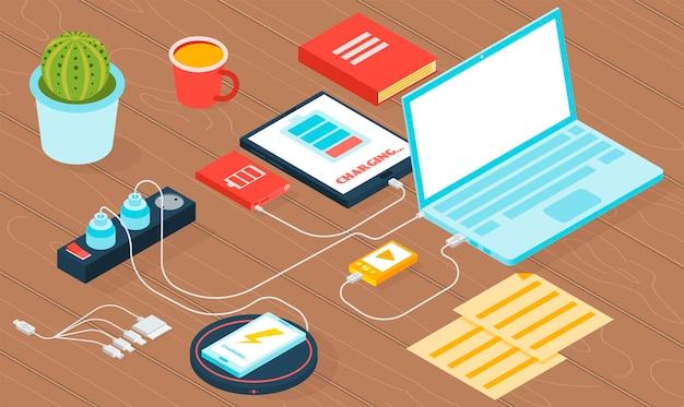Ilustracja ładowarki gadżetu z izometrycznym laptopem tabletu i smartfonem