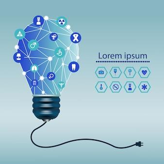 Ilustracja lampa z medyczną ikoną
