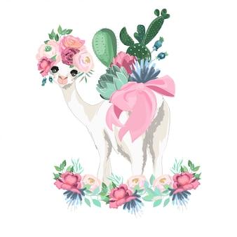 Ilustracja Lamy i kwiatów