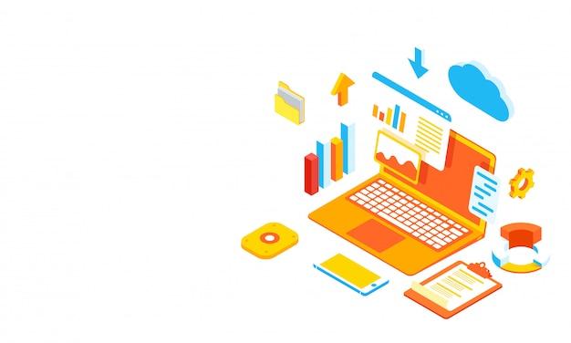 Ilustracja laptopa z wieloma elementami biznesowymi